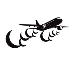 airplane with clouds silhouette on white vector image