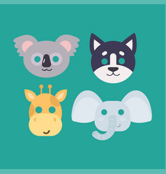 Animals carnival mask set festival vector
