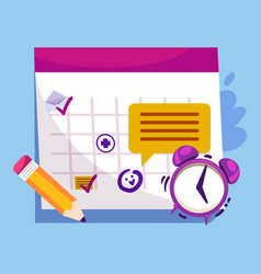 Appointment booking with calendar and clock vector
