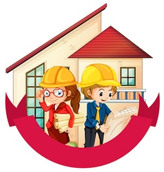 Banner design with two engineers at the house vector image