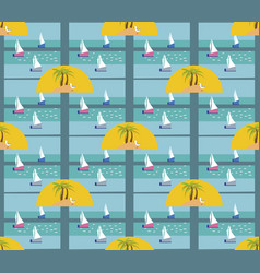 beautiful seamless island pattern with boats vector image