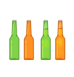 Beer bottles collection isolated on white vector image