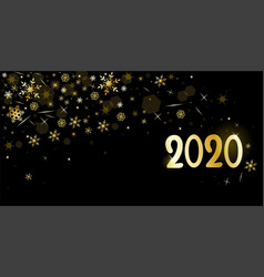 black banner with golden snowflakes 2020 graphic vector image