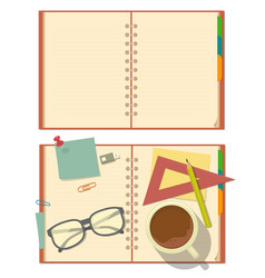 Blank opened notebook with glasses pencil paper vector