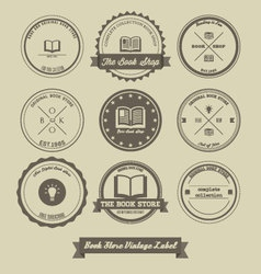 Book Store Vintage Label Design vector image