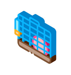 Cage for hamster isometric icon vector