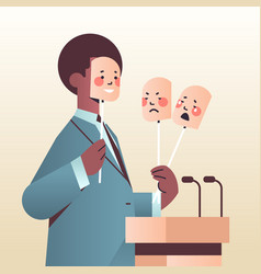 candidate politician covering face under masks vector image