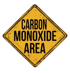carbon monoxide area vintage rusty metal sign vector image