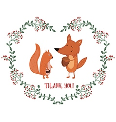 Card with fox and squirrel vector image