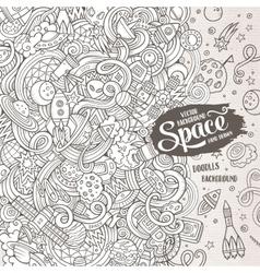 Cartoon cute doodles hand drawn space vector image