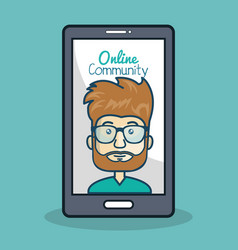 Cartoon man and smartphone online community vector