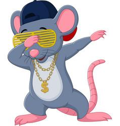 Cartoon mouse dabbing dancing wears sunglasses vector