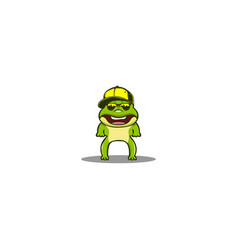 cartoon stylist frog on white background vector image