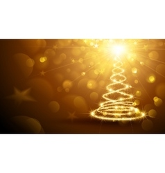 Christmas magic tree gold vector