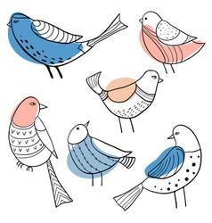 Collection cute hand drawn doodle birds vector