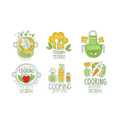 cooking time logo design collection culinary vector image