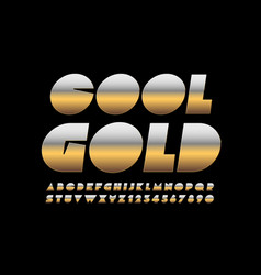 cool gold alphabet letters and numbers cre vector image