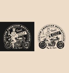custom motorcycle repair service logo vector image