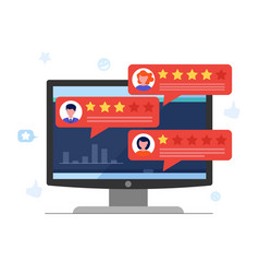 customer review concept with rating stars and vector image