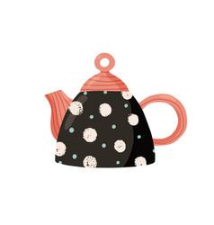 Cute ceramic colored teapot adorable tea kettle vector