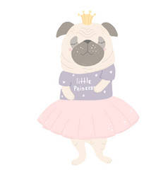 cute little pug standing on its hind legs flat vector image