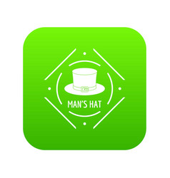 Cylinder hat icon green vector
