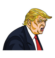 donald trump shouting you are fired cartoon vector image