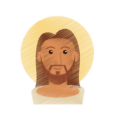 drawing jesus christ portrait image vector image