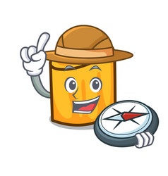 explorer rigatoni mascot cartoon style vector image