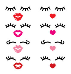 Eyelashes and lips icons pretty girl vector