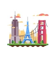 Famous landmarks flat design vector