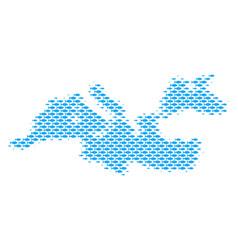 Fish mediterranean sea map mosaic vector