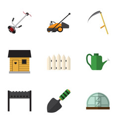 Flat icon farm set of grass-cutter wooden barrier vector