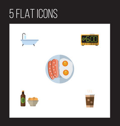 Flat icon lifestyle set of cappuccino tub beer vector