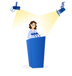 Flat woman speaking on podium vector
