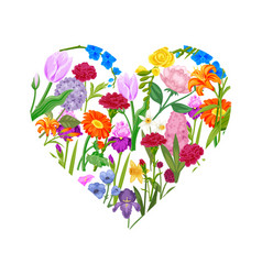 floral heart cute cartoon summer and spring vector image