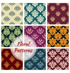 Floral ornate motif seamless patterns set vector