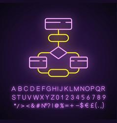 Flow diagram neon light icon flowchart process vector