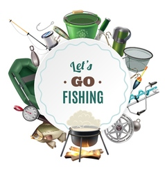 Freshwater Fishing Sport Round Frame Composition vector