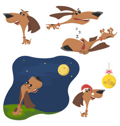 Funny cartoon puppy in different poses puppy run vector