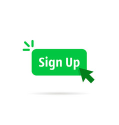 Green sign up button isolated on white vector