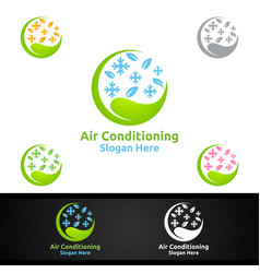 Green snow air conditioning and heating services vector