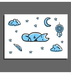 Greeting card with sleeping fox moon stars and vector image