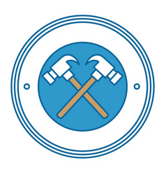Hammers crossed tools isolated icon vector
