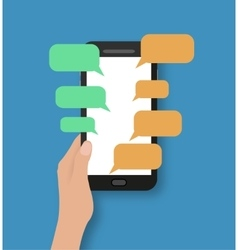 Hand holding black smartphone with chat bubbles vector image