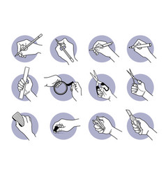 hand using stationery tools and equipment vector image