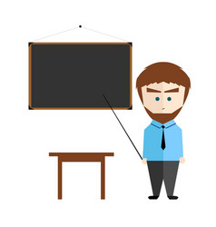 Handsome teacher with blackboard on isolated white vector