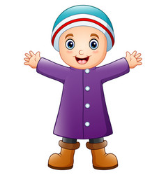 happy boy in purple winter clothes vector image