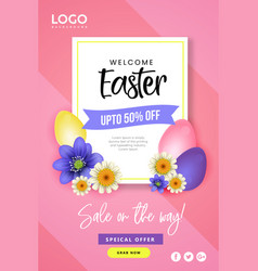 happy easter day festival poster design vector image