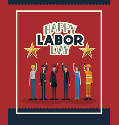 Happy labor day card with women workers vector